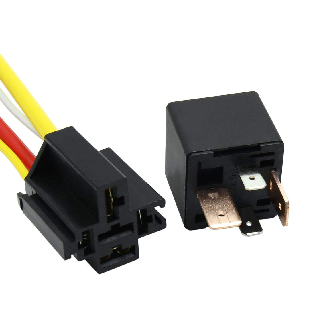 uxcell DC 12V 80A SPST Automotive Car Relay 4 Pin 4 Wires w//Harness Socket Plug 3pcs