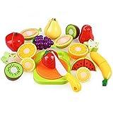 Peradix Play Food Cutting Set Kids Kitchen Play Game Plastic Velcro Fruits Cutting Board Set (Sticker & Apron)
