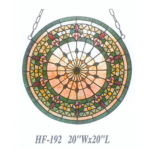 HF-192 20 Inch Vintage Tiffany Style Stained Church Art Glass Decorative Flowers Window Hanging Glass Panel Suncatcher, by Gweat Window Hanging