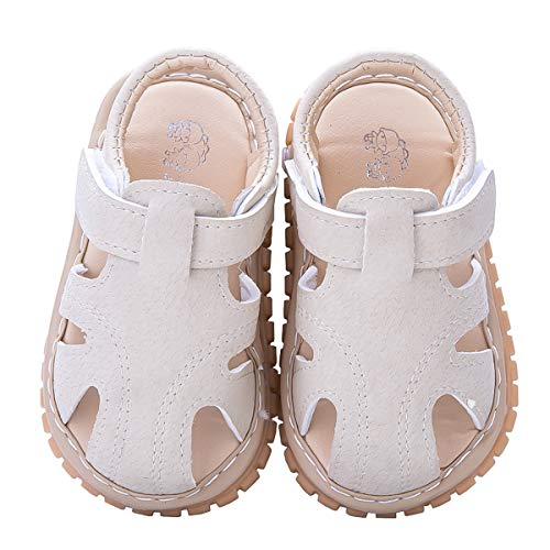 - Infant Baby Boys Girls Summer Sandals PU Leather Rubber Sole Toddler First Walker Shoes (12-18 Months M US Infant, Beige)