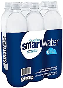 Glaceau Smartwater Vapor Distilled Water, 33.8 Ounce (Pack of 6)