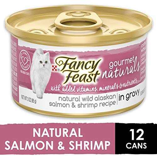 Purina Fancy Feast Natural Wet Cat Food, Gourmet Naturals Wild Alaskan Salmon & Shrimp in Gravy -  3 oz. Can (Pack of 12)