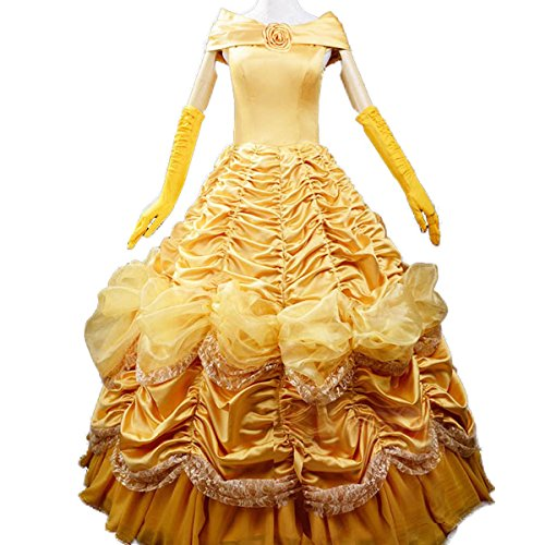 [Wraith of East Adult Princess Belle Costume Women Beauty Cosplay Dress S] (Belle Halloween Costumes For Women)