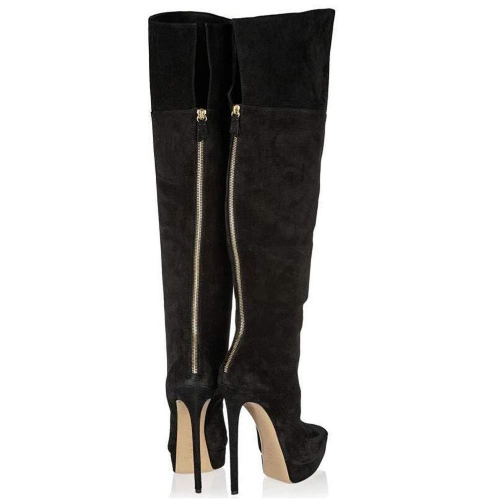 Hy Frauen Stiefel künstliche PU Herbst & Winter wies Mode Mode Mode Stiefel Damen Super High Heel Lange Stiefel Dicke Boden Wasserdichte Stiletto High Stiefel Fashion Stiefel Party & Abend 18c100