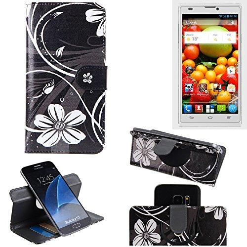 ZTE Blade L2 Cartera Funda Carcasa flores   360° Wallet Case Protección innovadora de la cámara - K-S-Trade (TM)