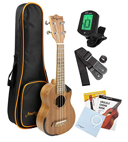 Martin Smith Concert Ukulele Starter Kit with Aquila Strings - Includes Online Lessons, Tuner, Bag, Strap & Spare Strings