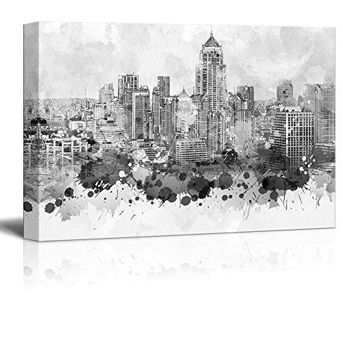 Wall26 - Black and White City of Bangkok in Thailand with Watercolor Splotches - Canvas Art Home Decor - 32x48 inches (Thailand Art)