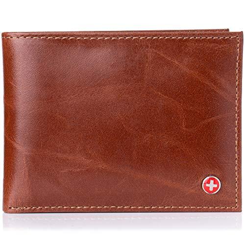 alpine swiss Men's RFID Safe Leather Bifold Pass case Wallet 2-in-1 Card Case BRN, Brown, One -