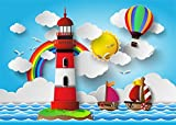 Leowefowa 7X5FT Vinyl Cartoon Backdrop for Photography Lighthouse Hot Air Balloon Sailboats Golden Sun Rainbow Blue Sky White Cloud Sea Sailing Background Boys Kids Birthday Party Photo Studio Props