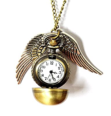 PURPLE WHALE Fashion Jewelry Bronze Snitch Flying Ball with Wings Pendant Necklace/Pocket Watch