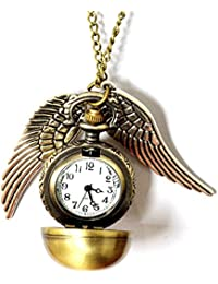 Fashion Jewelry Bronze Snitch Flying Ball with Wings Pendant Necklace/Pocket Watch
