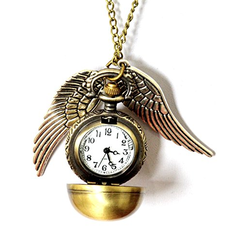 Fashion Jewelry Bronze Harry Potter Snitch flying ball Pendant Necklace / pocket watch from PURPLE WHALE