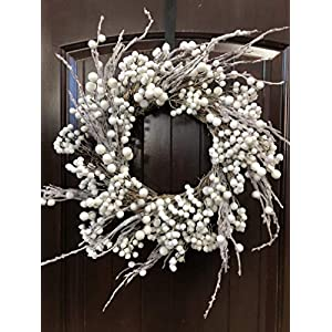 "Winter and Christmas Front Door Wreath with White Berries on Grapevine Base-20-22"" Diameter 61"