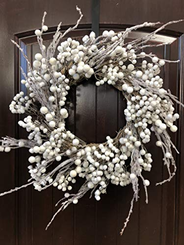 (Winter and Christmas Front Door Wreath with White Berries on Grapevine Base-20-22