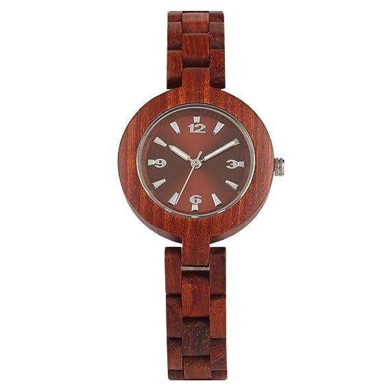 Reloj de Madera, Pantalla analógica, Reloj de Madera Completo para Mujer, Esfera pequeña, Reloj de Cuarzo Casual de Negocios: Amazon.es: Relojes