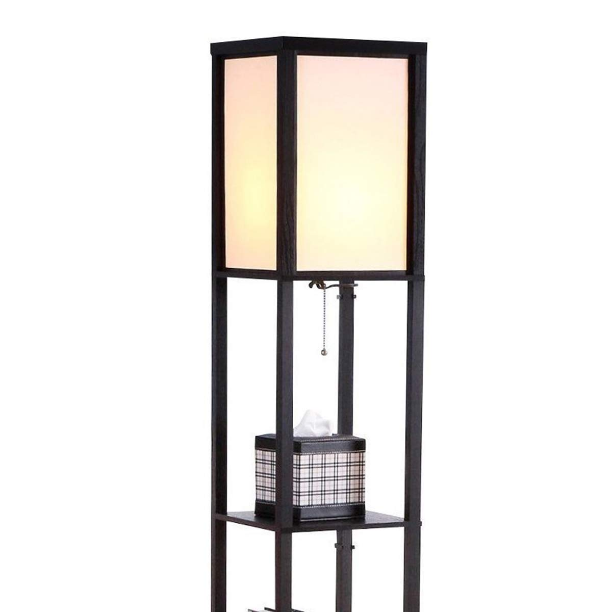 Brightech Maxwell - LED Shelf Floor Lamp - Modern Standing Light for Living Rooms & Bedrooms - Asian Wooden Frame with Open Box Display Shelves - Black by Brightech (Image #2)