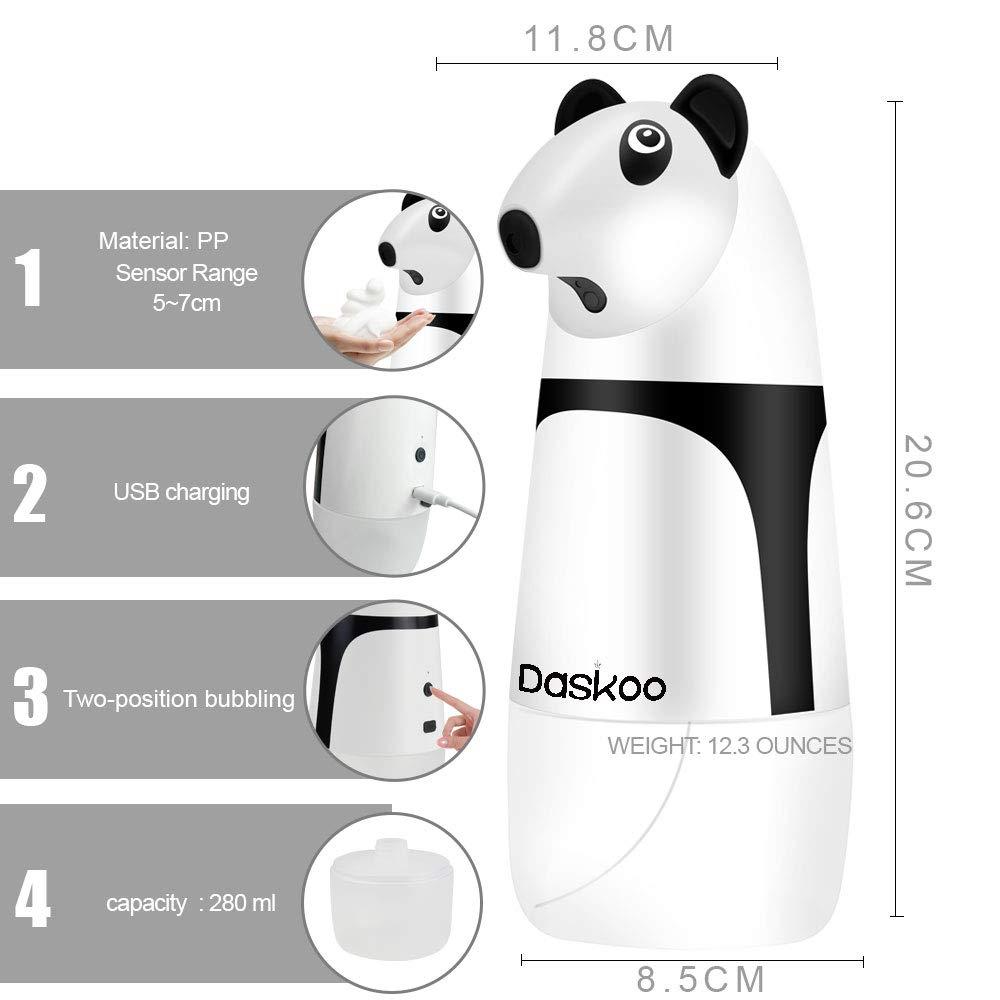Daskoo Dispenser Automatico di Sapone Schiumoso Senza Contatto Sensore di Movimento a Infrarossi Dispensatore Automatico di Sapone Dispenser di Sapone Impermeabile per Bagno e Cucina Ricarica 280ml