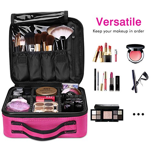 Luxspire Makeup Cosmetic Storage Case, Professional Make up Train Case Cosmetic Box Portable Travel Artist Storage Bag Brushes Bag Toiletry Organizer Tool with Adjustable Dividers, Rose Red
