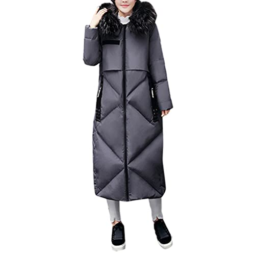 Zhhlaixing Caliente para el invierno Large Size Thick Hair Collar Winter Feathers Cotton Dress Women...