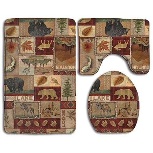 Rustic Lodge Bear Moose Deer 3 Pack Bath Mat Set Non-Slip Flannel for Men and Women Antibacterial Toilet Seats, Bathroom Carpets, Bathroom Accessories