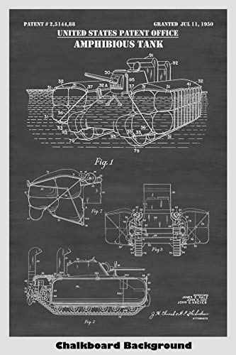 US Army Amphibious Tank Patent Print Art Poster: Choose From Multiple Size and Background Color Options