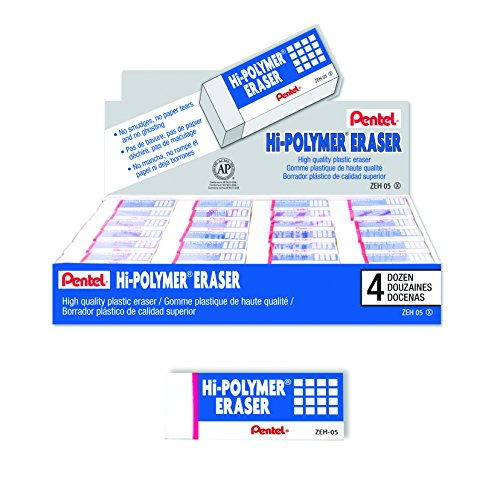Pentel Hi-Polymer Block Eraser, Small, Box of 48 Erasers -
