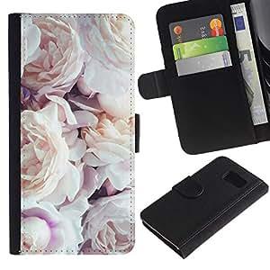 iBinBang / Flip Funda de Cuero Case Cover - Pink rosas blancas Primavera Naturaleza - Samsung Galaxy S6 SM-G920