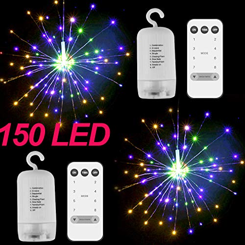 MAYBEST LED String Light, 2Pack Outdoor Hanging Starburst Light, 150 LED Bouquet Lights, Waterproof Fairy Twinkle Lights 8 Modes Dimmable with Remote Control for Garden, Patio Party (Colorful)