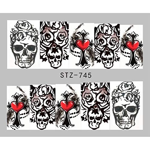 1Pcs Halloween Designs Water Decals Skull Tattoos Sliders For Manicure Water Transfer Sticker Wraps Tips Decoration -