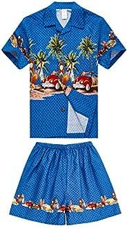 Boy Hawaiian Aloha Luau Shirt and Shorts 2 Piece Cabana Set in Blue Cars