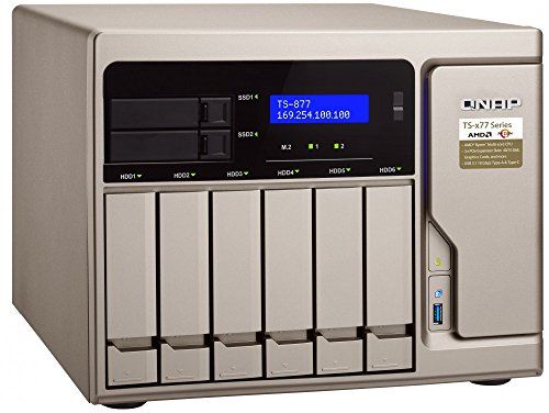 Qnap TS-877-1700-16G-US High-Performance 8 bay (6+2) NAS/iSCSI IP-SAN. AMD Ryzen 7 1700 8-core 3.0GHz, 16GB RAM, 10G-ready by QNAP