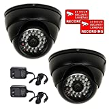 VideoSecu Security Cameras 2 Pack 700TVL Outdoor Built-in 1/3' SONY Effio CCD IR Infrared Day Night Vision 3.6mm Lens Wide Angle Dome for DVR CCTV Home System with Power Supplies AC4