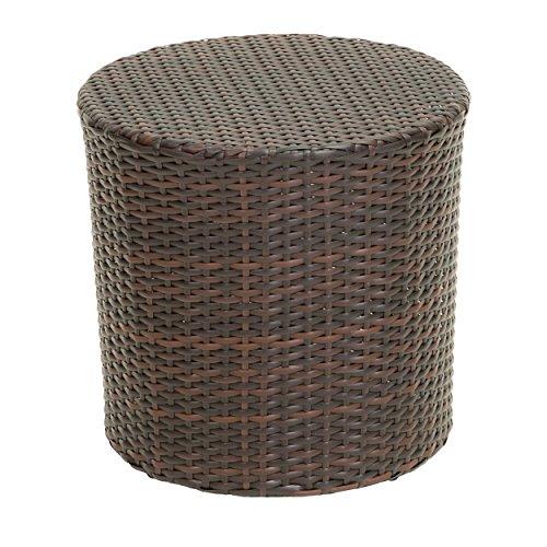 Amazon Com Patio Wicker Barrel Side Table In Multi Brown