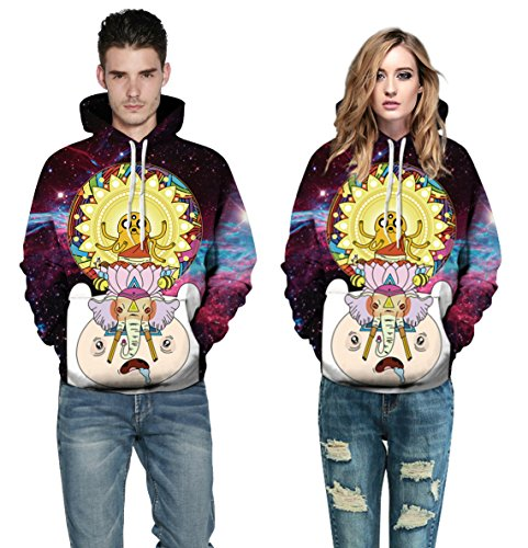 Cayyon 3D Printing Hoodie Women and Men Lovers Adventure time Long Sleeve Hat Clothes