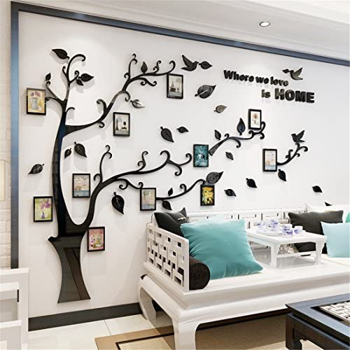 51TR1GwA7CL. AC - 3D Tree Wall Stickers - DIY Photo Frame Tree Wall Decal Family Photo Frame Sticker Murals Wall Décor For Nursery Living Room Bedroom TV Background Home Decorations (XL:10979in, Black Right)