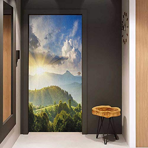 Onefzc Soliciting Sticker for Door Nature Rising Sun Clouds Over Forest Hill Woodland Idyllic Countryside View Mural Wallpaper W17.1 x H78.7 Olive Green Blue Yellow