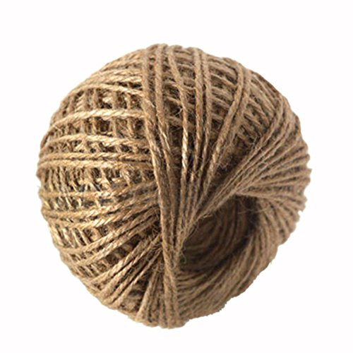 Rely2016 Craft 3Ply Natural Packing Jute Twine String Rope Hessian Rustic Burlap Twisted Twine 100M (Burlap Twisted String)
