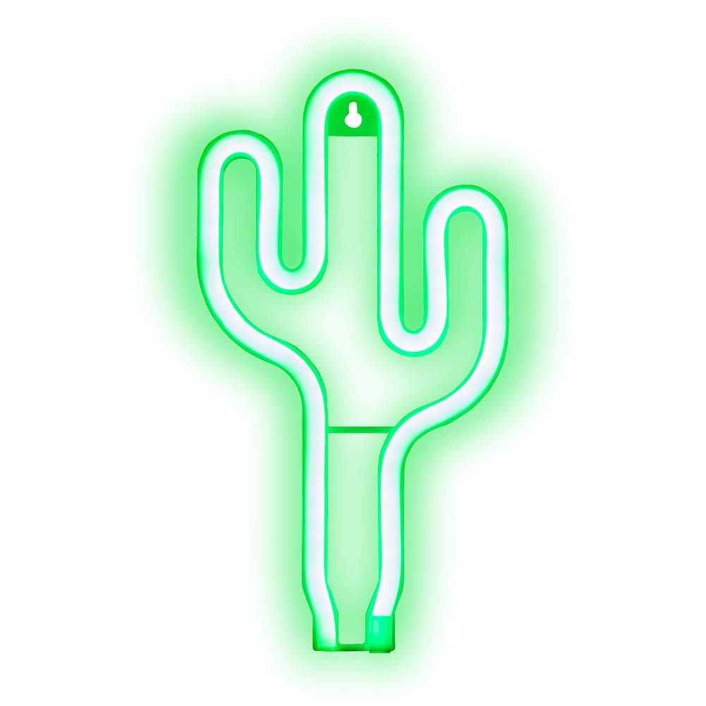 LED Neon Light, Green Cactus Shaped Night Light, Light Sign Power by Battery or USB for Children's Room, Party, Wedding, Room Decoration Aifusi