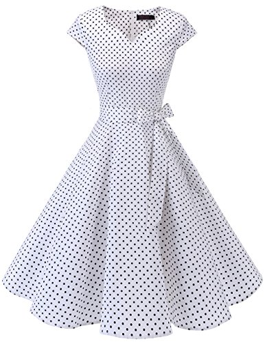 Retro Fashion Vintage (DRESSTELLS Retro 1950s Cocktail Dresses Vintage Swing Dress with Cap-Sleeves White Small Black Dot S)