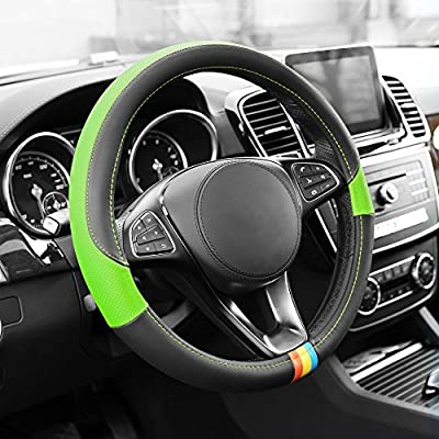FH Group FH2008GREEN Green Full Spectrum Leather Steering Wheel Cover: Automotive