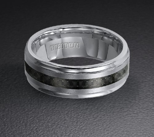 Tungsten Carbide and Black Carbon Fiber Wedding Band 11-2316C For Sale