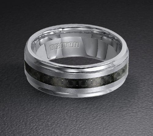 Tungsten Carbide and Black Carbon Fiber Wedding Band 11-2316C