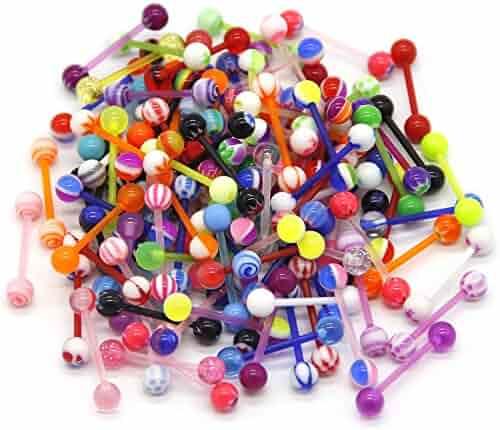 CrazyPiercing LOT 100 Pcs 14G Multi Color Assortment Flexible Tongue Rings Barbells Mix Piercing