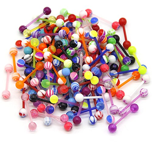 CrazyPiercing 100Pcs 14G Acrylic Tongue Rings, Multi Color Assortment Flexible Tongue Rings Barbells Mix Piercing