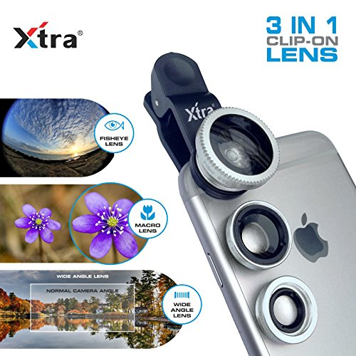 XTRA 3 in 1 Clip-On 180° Fisheye Lens + 0.67X Wide Angle + 10X Macro Camera Lens Kit for iPhone 7/7+/Se/6s/6/6 Plus, iPad, Samsung Galaxy S7/S6/Edge, Note 5/4, LG G5, - Test 3d Polarized Glasses