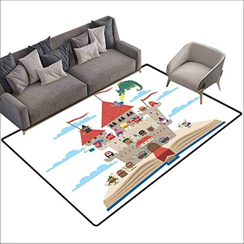 Drama Queen Dragon - Girl Bedroom Rug Kids Queen Size Fairy Tale Story Book Castle King Queen Princess Dragon Witch Knight Wizard Vikings Theme Print Non-Slip Door mat pad Machine can be Washed W6' x L6'10