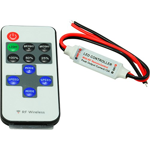 ABI Mini Controller Inline Dimmer Switch with RF Wireless Remote for LED Strip Lights