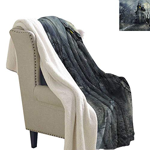 AndyTours Winter Quilt Halloween Gothic Haunted House Washable Shaggy Fleece Blanket W59 x L47 -
