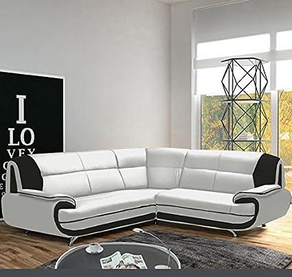 Muebles Bonitos - Sofá Luana New blanco con negro - chaise ...