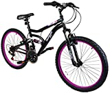 Muddyfox Inca 24' Girls Dual Suspension Mountain Bike in Black and Pink - 18 Speed